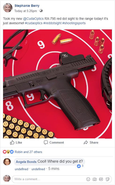 Sample Facebook post with a photo of the Cuda RX-795 reflex sight on a pistol