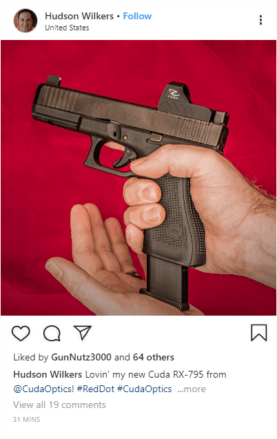 Sample Instagram post featuring a photo of the Cuda RX-795 on a Glock17