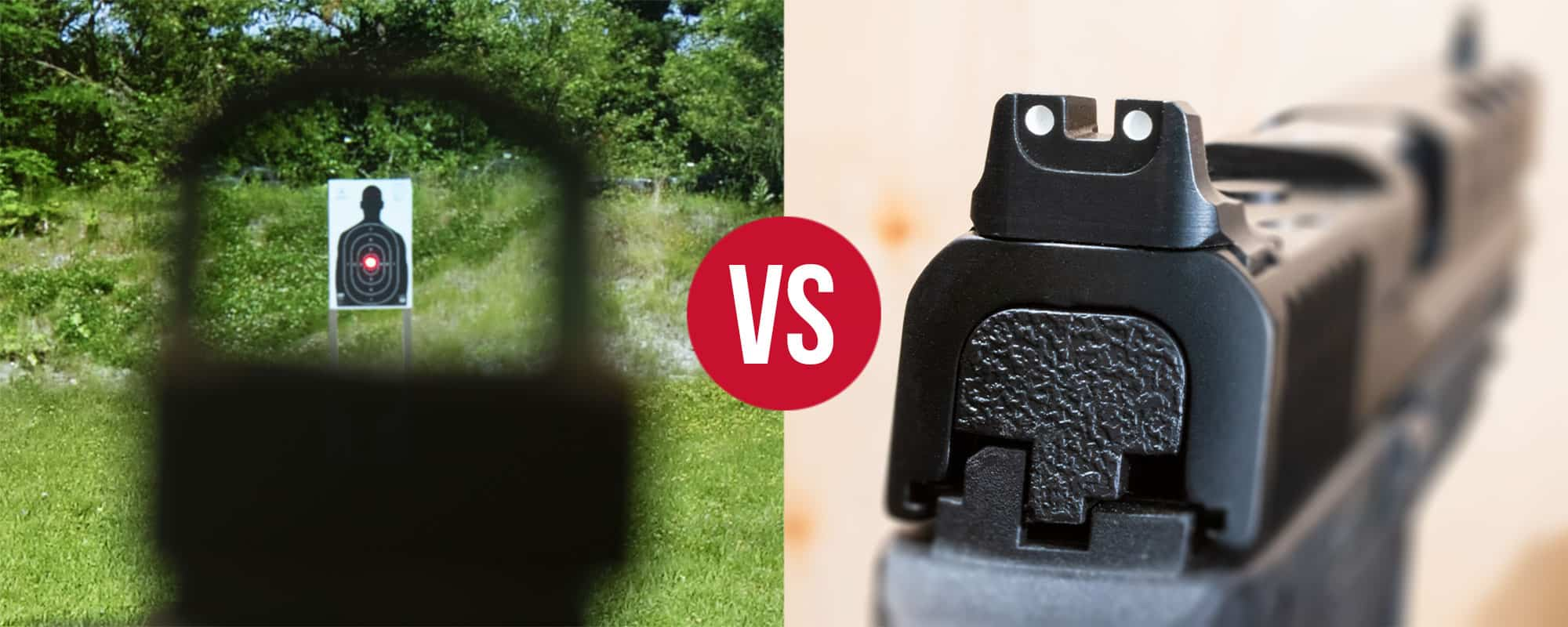 Looking through a red dot sight on the left versus a pistol with iron sights on the right