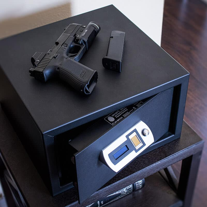 Verifi Smart Safe S5000 On A Night Stand With A Gun On Top
